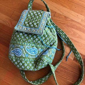 Vera Bradley green paisley backpack